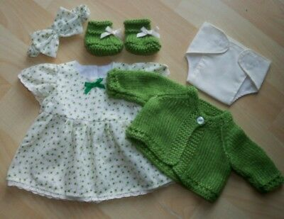My First Baby Annabell/14 inch baby doll 5 Piece Green Floral Dress Set (3)