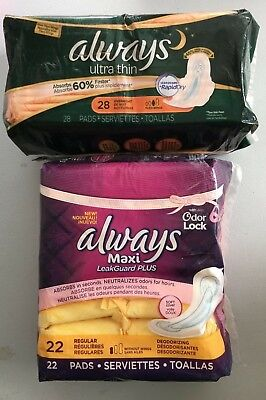 Lot of 2 Always Ultra Thin & Maxi Leak Guard Plus Pads