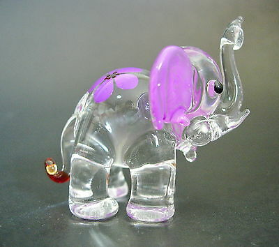 Glass ELEPHANT Painted Purple African Glass Animal Blown Glass Ornament Figure
