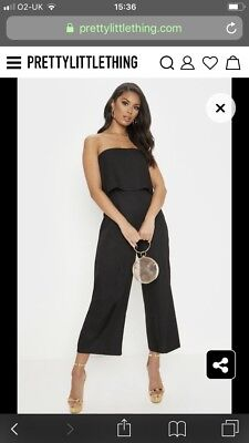 98f2502a3e Pretty Little Thing Black Cullote Jumpsuit Size 12 Brand New With Tags