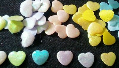 100 pcs  Small heart Padded Appliques  size 10 mm x 12 mm