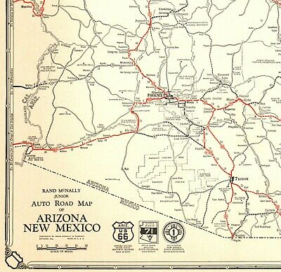 1932 Antique ARIZONA State Map Auto Road Map NEW MEXICO Highways Map RARE 6303