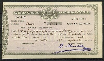 Alfonso Xiii, Documento, Cédula Personal, Alquileres, 100 Pts, 1928, Sevilla