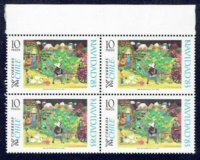 Chile 1983 Stamp # 1075 Mnh Block Of Four Christmas 83'