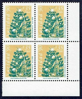 Chile 1990 Stamp # 1486 Mnh Block Of Four Christmas 90' Corner Of Sheet