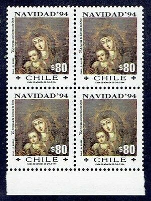Chile 1994 Stamp # 1694 Mnh Block Of Four Christmas