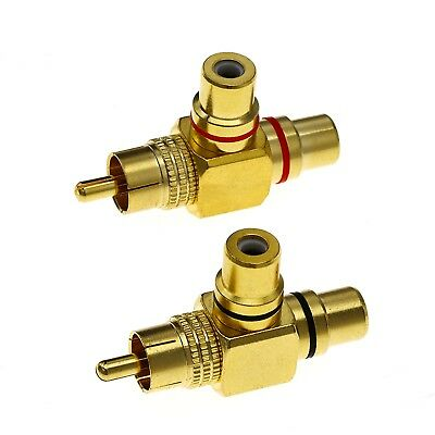 1RCA to 2RCA Y Double Adaptor Male to Female Gold Plated  Audio Video Splitter