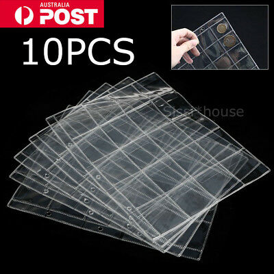 10pcs 20 Pockets Coin Holders Folder Pages Sheets For Collection Album Storage