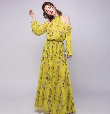 c24eee2f02 2018 Summer Self Maxi Long Dress Holiday Floral Print Sexy Women off  Shoulder sz