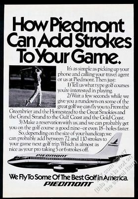 1980 Piedmont Airlines plane and golf golfer photo vintage print ad