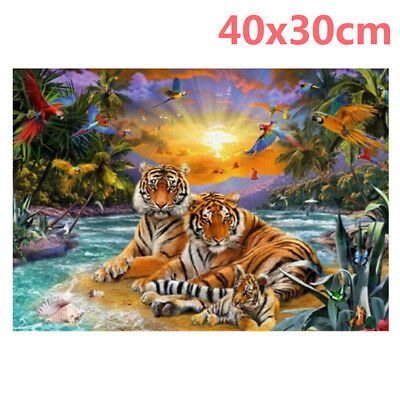 Tiger Family Full Drill 5D Diamond Embroidery Painting Cross Stitch Kit Carfts