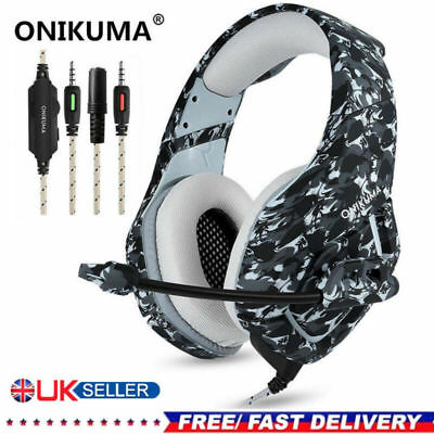 ONIKUMA K1 Stereo Bass Surround Gaming Headset for PS4 Pro Xbox One PC Mic Gray
