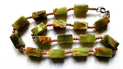Unusual Vintage Green 'Marbled-Onyx' Cubed Bead Necklace