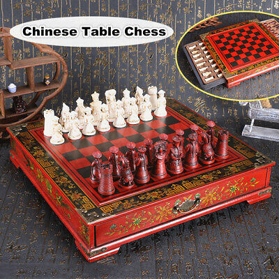 Set of 32 Vintage Resin Chinese Terracotta Warrior Chess Wooden Table Board Game
