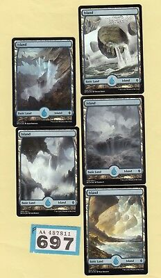 MTG Magic the Gathering - Island x 5 - Battle for Zendikar - Foil - (Full Art)
