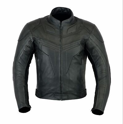 Mens new Leather Black Cow Hide Motorcycle Premium Quality Bike Jacket CE Armour