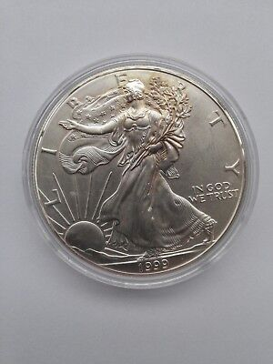 1999 1 oz Silver American Eagle BU in Airtite Capsule with Toning