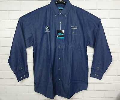 f2f9b202234 New Tri Mountain Mens L Tall Long Sleeve Button Shirt Embroidered Bmw  Motorcycle