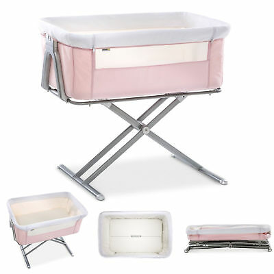 New Hauck Pink Face To Me Bedside Sleeping Crib Baby Height Adjustable Crib