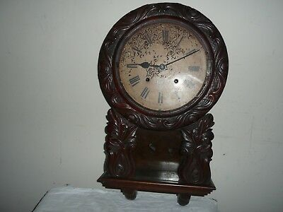 Victorian Drop Dial Wall Clock in Ornate Carved Case. For Restoration.