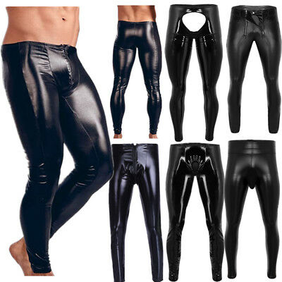 Mens Shiny Leather Pants Wet Look Long Tight Muscle Trousers Motorcycle Clubwear