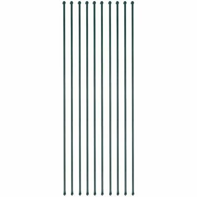 vidaXL 10x Garden Posts 2 m Metal Green Fencing Plant Supports Spikes Stakes