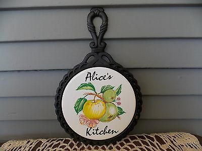 Vintage Cast Iron & Ceramic Trivet Hot Plate Kitchen Wall Decor Alice's Kitchen