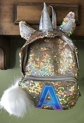d41e9d3c190 Justice Girl s Gold Flip Sequin Initial Letter A Unicorn Mini Backpack  Purse NEW