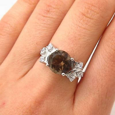 #150 REAL SMOKY QUARTZ ART DECO 925 STERLING SILVER SOLITAIRE RING SIZE 7