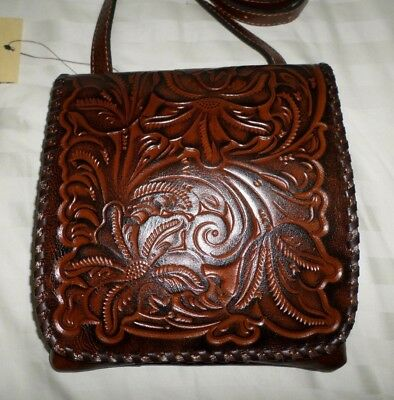 NWT Patricia Nash GRANADA Crossbody BURNISHED TOOLED Leather FLORENCE BROWN