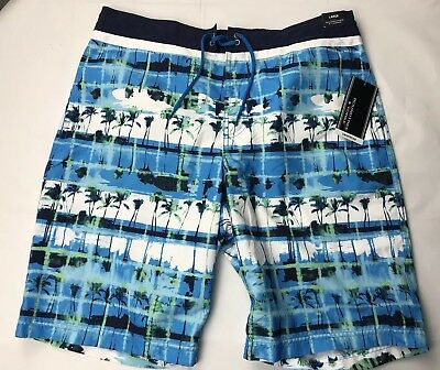 6abd54310a Roundtree & Yorke Mens Trunks Swim Suit Large Blue Palm Trees Polyester NEW