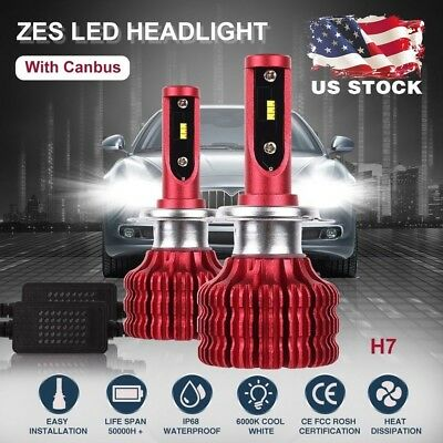 H7 Fanless ZES LED Headlight Conversion Kit Bulbs 72W 24000LM 6000K With Canbus