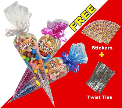 100 Clear Cellophane Cone Bags Twist Ties Large size Party Sweet Cello Candy