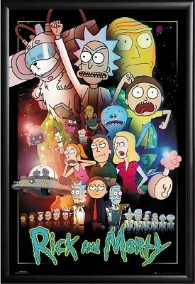 Rick and Morty Characters Poster Framed (Black), Size 24x36