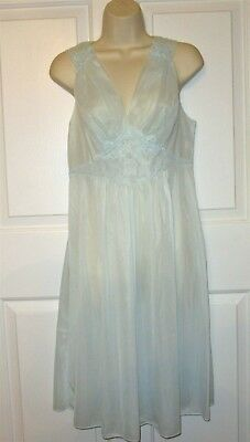 Vintage NOS 60 s 70 s Vanity Fair Nightgown 34 Blue All Nylon with lace trim 09083f972
