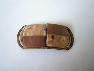 Vintage Art Deco Taupe and Marbled Tan Plastic 2 Piece Buckle Clasp Germany