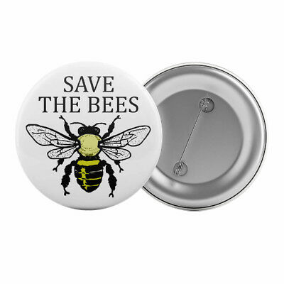 "Save The Bees - Badge Button Pin 1.25"" 32mm Ecology Environment Insect"