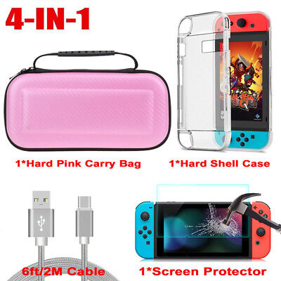 For Nintendo Switch Travel Carry Case Bag/Glass Screen Protector/Charge Cable