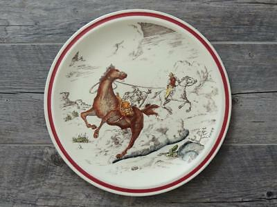 """Vernon Kilns California Art Pottery Bits of The Old West Horse Thieves 14"""" Plate"""