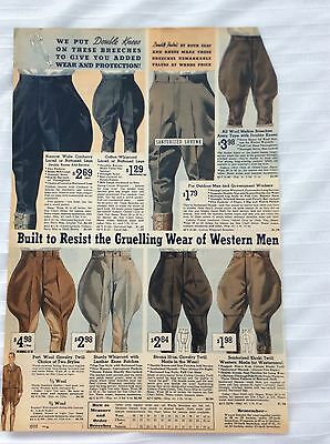 1930s Mens Vintage Breeches Calvary Japours Stag Coat Catalog Ad Union Made