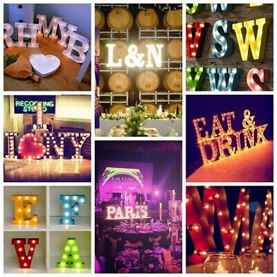 "12"" Marquee Black White Alphabet LED Letter Light Up Plastic Stand Hanging Circu"