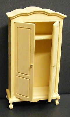 1:12 Scale Natural Finish Wooden Wardrobe Tumdee Dolls House Miniature 016