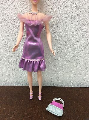 Barbie Doll Outfit Purple Pink Cocktail Dress Sparkly Heels Necklace Purse #15