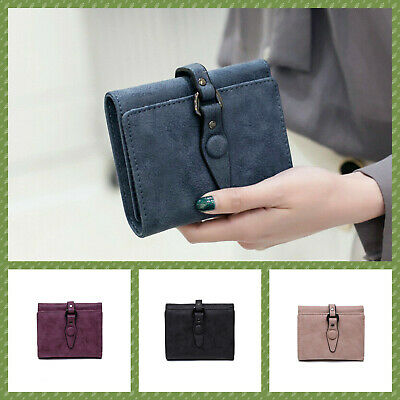 new women girl  solid trifold wallet purse money bag credit card holder au