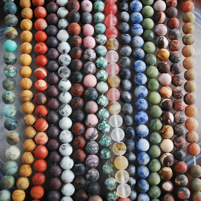 V3032-3046 8mm Wholesale Matte Gemstone Jasper Ball Loose beads 15''
