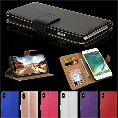 Case For iPhone 6s 7 8 5s Plus Xr Xs Max Cover Real Genuine Leather Flip Wallet
