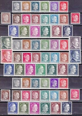 Nazi 3rd Reich 3 Complete MH Hitler Sets*   62 Stamps.