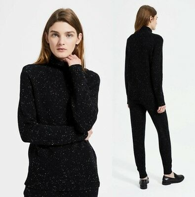 THEORY 100% Donegal Cashmere Mock Neck Pullover Black Multi sz S, M  $425