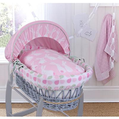 New Clair De Lune Rabbits Pink Padded Grey Wicker Baby Moses Basket & Mattress