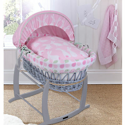 Clair De Lune Rabbits Pink Padded Grey Wicker Baby Moses Basket & Rocking Stand
